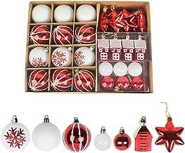 Ydh 28 Stks/set kerstboom ornamenten glitter onbreekbare bal kerstballen mini huis sneeuwvlok opknoping hanger charme kers...