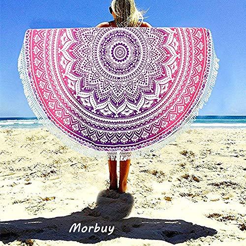 Morbuy Toalla de Playa Redonda, Estilo Mandala Indio Decoración, La Playa Tapiz de Pared Manta Yoga Picnic Mantel Tassel Beach Towel Blanket Clips, 59 Inch (150cm,Mandala - Rojo)