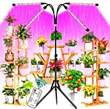 LED Grow Lights for Indoor Plants with 60''Stand Tripod, 80W Remote Control Plant Light Timing 4h/8h/12h, Full Spectrum/Blue/Red, Grow Lights for Seed Starting, 10 Dimming Levels Plant Growing Lamps