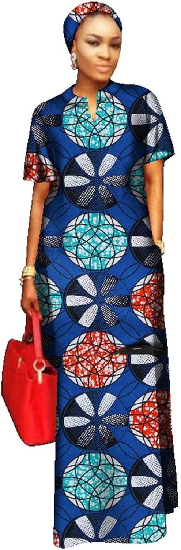 BintaRealWax Womens Straight Cut Ankara Maxi Dress Short Sleeve African Dress & Head Wrap