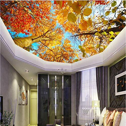Wffmx Individuelle Fototapeten Wandbilder Herbstlaub Natur Landschaft Wohnzimmer Schlafzimmer Decke Hintergrundbild 3D Wandbild Tapete-400X280Cm