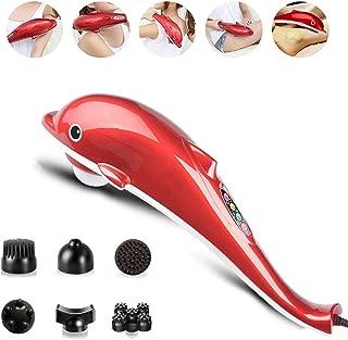 DZWJ Dolphin Sticks Back Massage Hammer Handheld Electric Vibration Infrared Roller Cervical Lumbar Massager with 7 Massage Heads