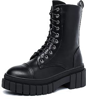 Women's Platform Combat Boots - Lace up Chunky Fashion...