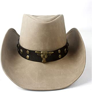 SHENTIANWEI Fashion Women Men Western Cowboy Hat with Punk Leather Bull Band for Gentleman Beach Sun Sombrero Hat