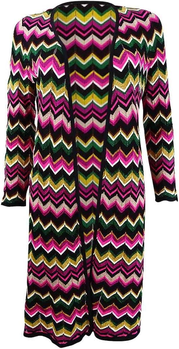 INC International Concepts Women's Zig-Zag Completer Sweater (M, Fiesta Fuchsia)