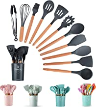 Silicone Cooking Kitchen 12 Pcs Wooden Utensils Tool For Nonstick Cookware, Cooking Spatula Set With Bamboo Wood Handles F...