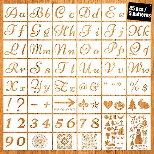 45 Piezas Plantillas de Números Letras Estarcidos de Plástico Reutilizables Plantilla de Pintura Alfabeto con Fuente de Caligrafía Letras Mayúsculas y Minúsculas para Navidad y Halloween