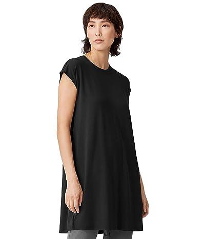 Eileen Fisher Petite Crew Neck Shirt Boxy Dress in Viscose Jersey