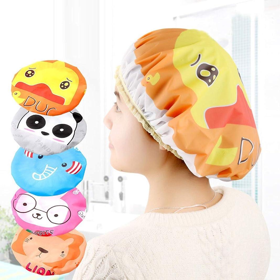 光景スーパーマーケット遡るRONGJINGZHU 漫画の子供シャワーキャップ防水大人かわいい顔お風呂のPVCシャワーキャップバスルーム家庭用品シャンプーキャップ (Style : 1)
