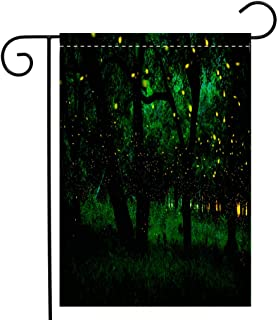 BEIVIVI Creative Home Garden Flag Magic Fairy Forest Fireflies in The Bush at Night at Prachinburi Province Thailand Garden Flag Waterproof for Party Holiday Home Garden Decor