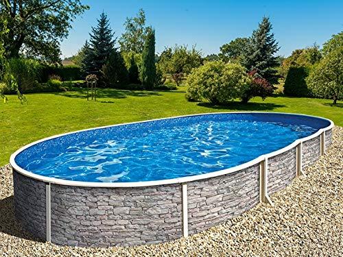 Stahlwandbecken Azuro Stone oval 3,70m x 5,50m x 1,20m Einzelbecken Folie Lagoon 0,5mm Einzelbecken Pool Ovalpool ohne Zubehör / 370 x 550 x 120 cm Stahlwandpool