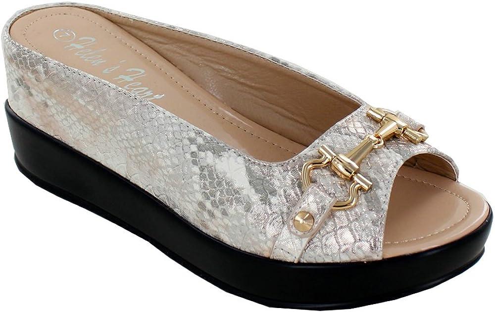Women's Mesa Mall Sparkle Golden Hint Snake Sli Skin Hidden Wedge Textured Cheap SALE Start