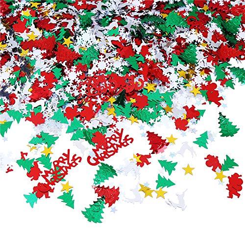 Hosfairy 100g/4800Pcs Christmas Confetti Mix Foil Snowflake,Pentagram,Santa Claus,Pine, Merry Christmas Alphabet,Elk,Christmas Tree Confetti Bright for Christmas Party Decoration Set