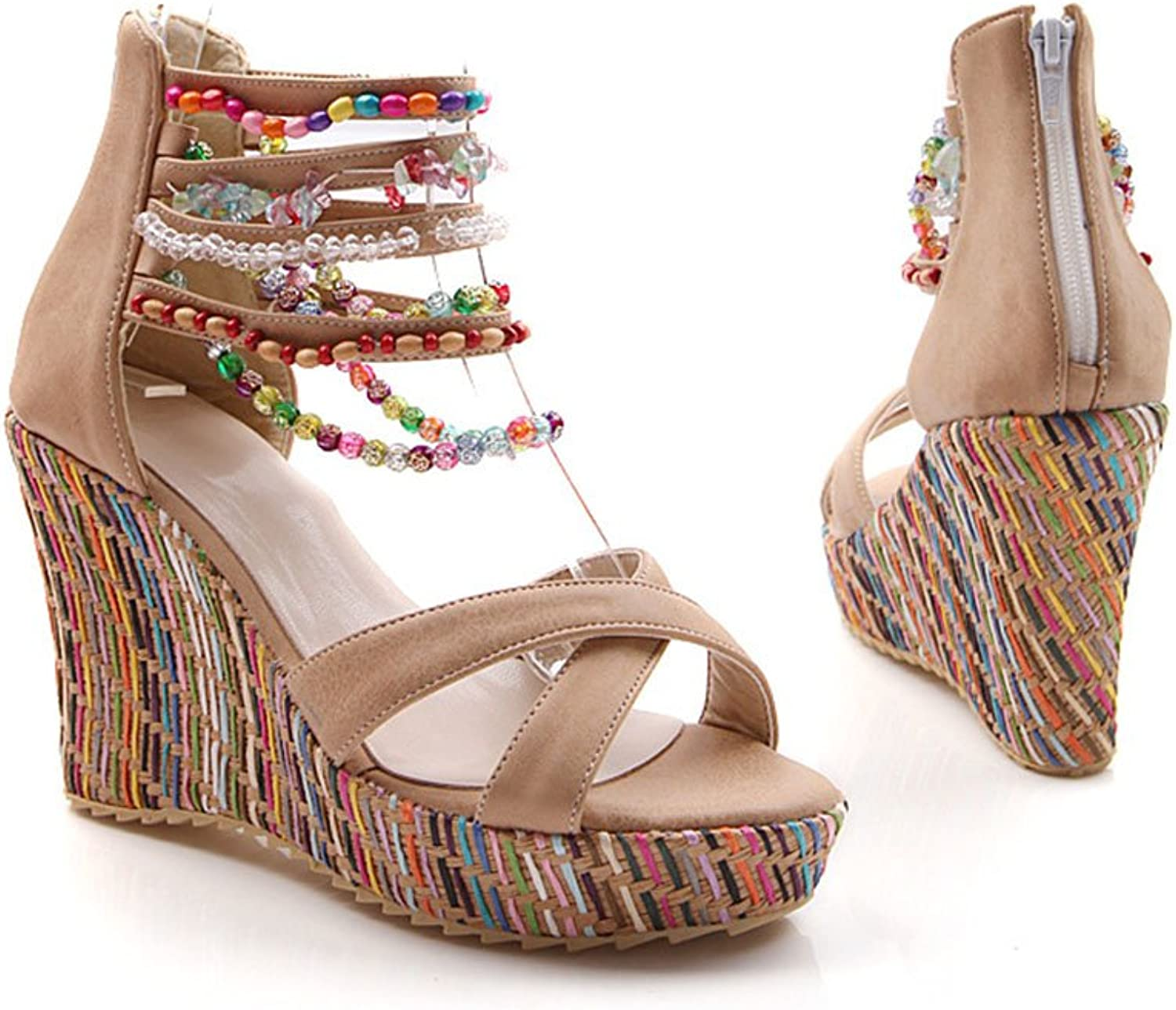 Women's Fashion Wedge Sandals Pearls Across The Top Platform High Heels Open toe Sandals