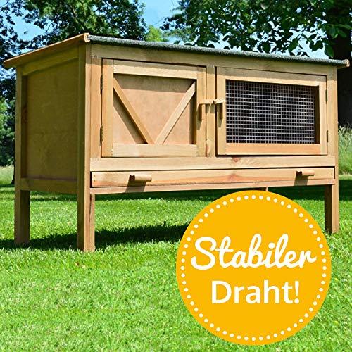 zooprinz Kaninchenstall Hasenkäfig - HASI - kompakter Outdoor- Stall für Kleintiere wie Hasen, Zwerg- Kaninchen, Meerschweinschen und Frettchen