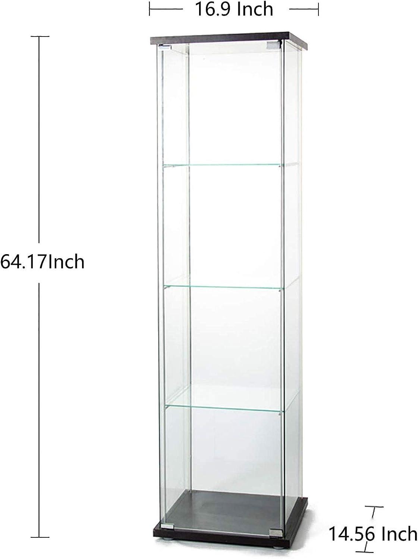 alpha-ene.co.jp Home & Kitchen Furniture Black Glass Curio Cabinet ...