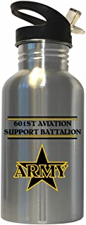 601st Aviation Support Battalion - US Army Stainless Steel Water Bottle Straw Top