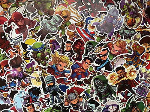 S&B Lote de Pegatinas Super Heroes, héroe, niño, Chibi, Marvel, DC, Stickers, Iron Man, Spiderman, Batman (50)