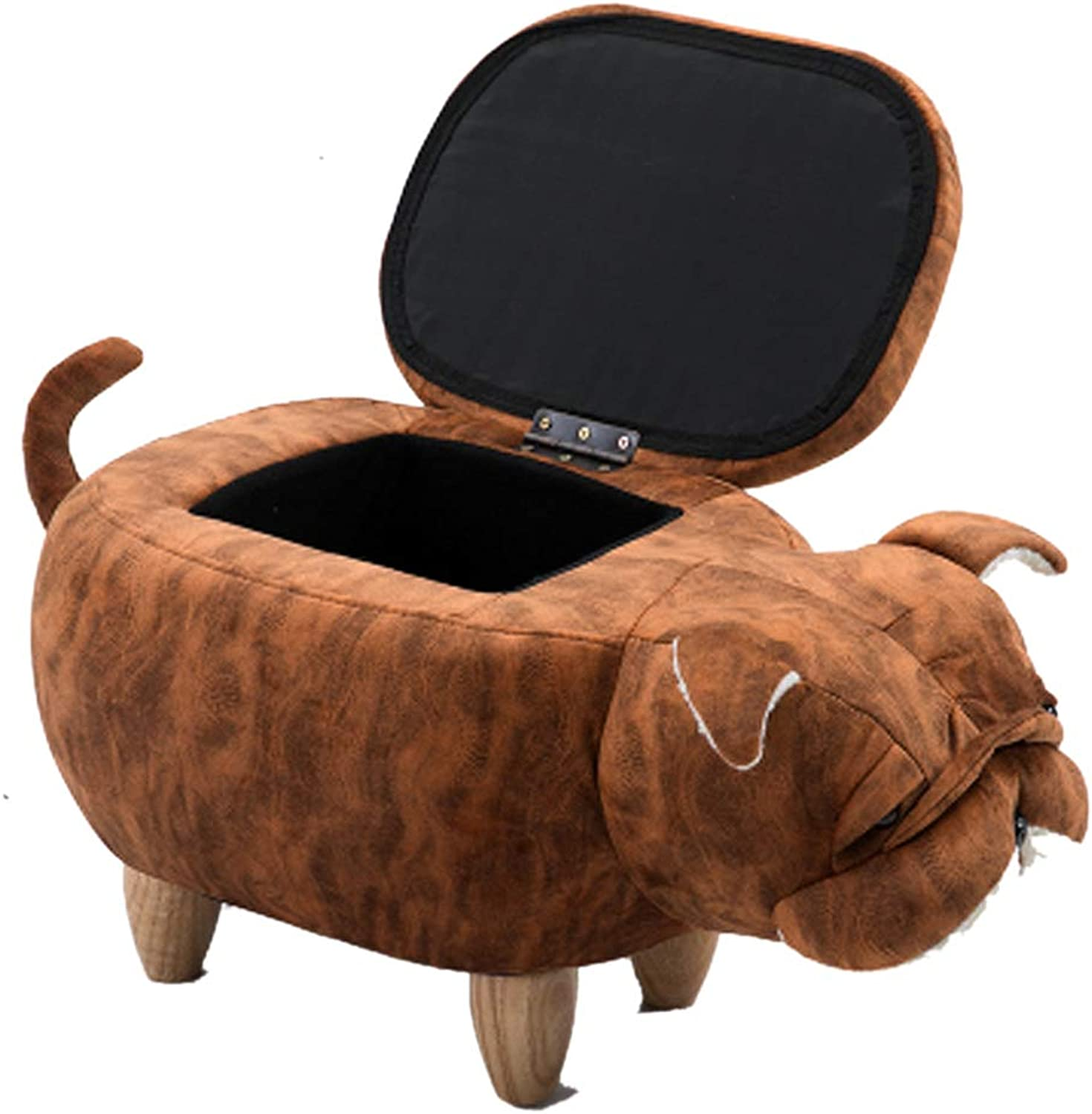 Cartoon Wooden Bench Cute Puppy for shoes Bench Solid Wood Storage Foot Stool Simple Sofa Coffee Table Stool Storage Storage Stool (color   Brown b)