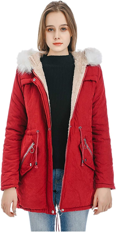 IZHH Winter Womens Warm Coat Hooded Mid-Length Jacket Long Sleeve Slim Cotton Coats