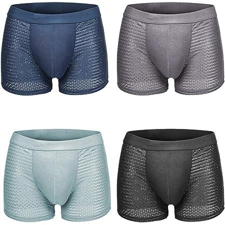 Pulchram 4 Pack Soft Men Underwear Trunks, Mesh Breathable Seamless Men's Boxer Shorts Silk Boxer Briefs