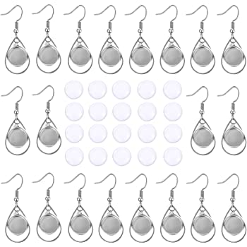 OBSEDE 40Pcs 12mm Earring Trays with Glass Domes Sets-20Pcs Wire Hooks Earring Blank Bezels with Heart Circle and 20Pcs 12mm Round Clear Glass Cabochons for Jewelry Making DIY Craft