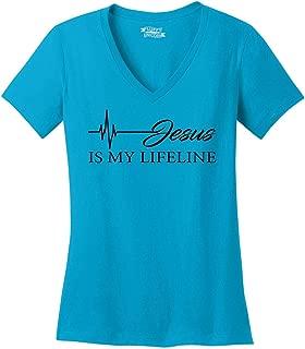 Comical Shirt Ladies Jesus is My Lifeline V-Neck Tee