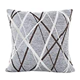 Qvwanle Decorative Throw Pillow Cover Ray Striped Plush Cushion Cover for Sofa Couch Bedroom Living Room, 16.5X16.5 Inches (Gray)