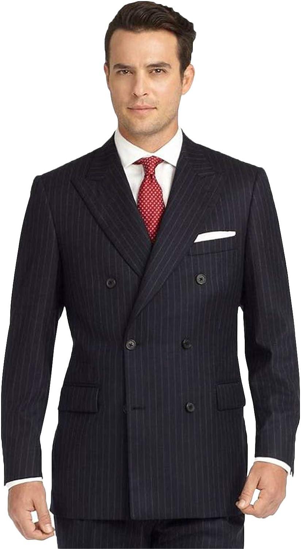 P&G Men's Stripe Two Pieces Suit PeakLapel Slim Fit DoubleBreasted Jacket & Pants Formal Tudexo