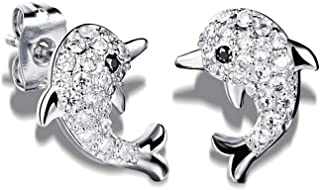 BBG#@ Novelty Jewelry-Dolphin Stud Earrings Crystal Diamonds Rhinestone Cute Fashion Women Jewelry Stud Earring/White