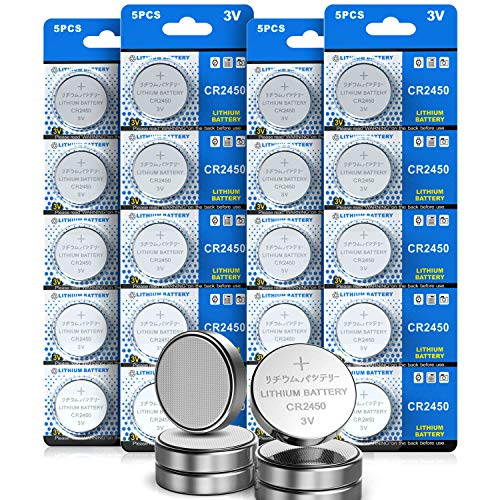 3V Lithium Button Cell Batteries CR2450, 20 Pcs for Votive Candles,Tea Light Candles,Watch,Computer,Calculator,IC Cards,Electric Products