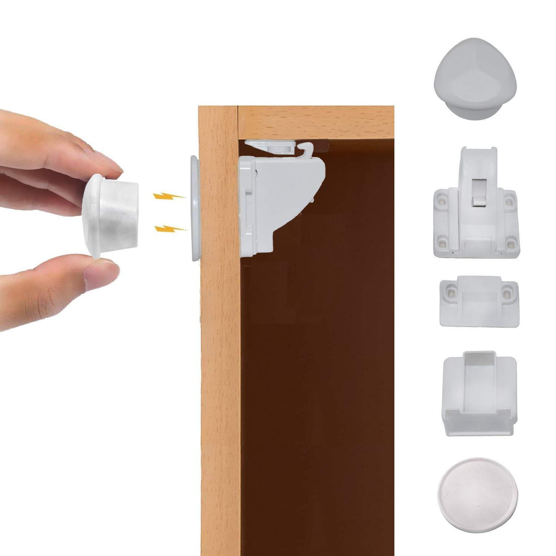 Magnetic Cabinet Locks Childproof Cabinet Locks Baby Locks for Cabinets and Drawers 4 Locks + 1 Key (Diamond)