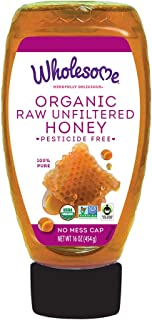 Wholesome Organic Raw Unfiltered Honey, Pesticide Free, Fair Trade, Non GMO & Non Glyphosate, 16 oz squeeze bottle (Pack of 1)
