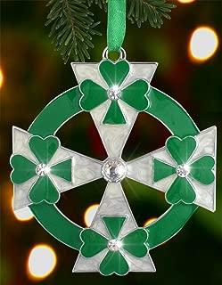 BANBERRY DESIGNS Irish Christmas Ornament - Green and White Irish Ornament with Shamrocks - Gift Boxed with Irish Saying
