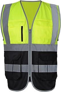 Neongelb /& Schwarz Gr/ö/ße XL Eastlion Reflektierende Sicherheitsweste Unisex Hi-Vis f/ür Outdoor