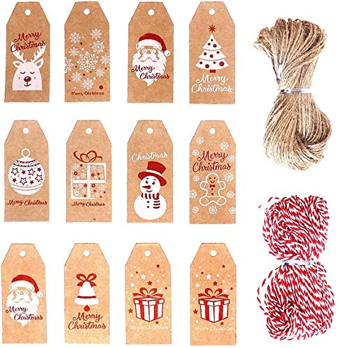 100 PCS Christmas Kraft Gift Tags,Xmas Brown Kraft PaperTags Pre-Punched with Holes Hang Labels with Jute Twine String for DIY Art Crafts