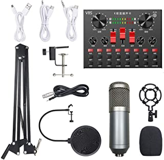 Multi-functional Live Sound Card BM800 Microphone Set Audio Recording Equipments (Silver & Grey)