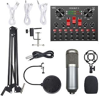 مجموعة ميكروفون بي إم 800 متعدد الوظائف لمعدات تسجيل الصوت (فضي ورمادي)