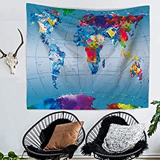 Tapestry Wall Hanging Colorful World Map Hippie Beach India Art Cool Bohemian Blanket Queen Size