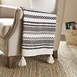 Amazon Brand – Stone & Beam Casual Jagged Global Design Throw Blanket - 60 x 50 Inch, Black / Ivory