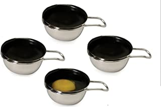 Set of 4 Stainless Steel Nonstick Egg Poacher Replacement Cups For All Brands, Fits All 2.5