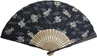 TongN Ventiladores de Mano 8.7 Pulgadas (22 cm) Ventilador de la Mano con la Borla, Chinease/japonés Hecho a Mano Plegable Ventilador de la Mano de algodón con bambú Costilla