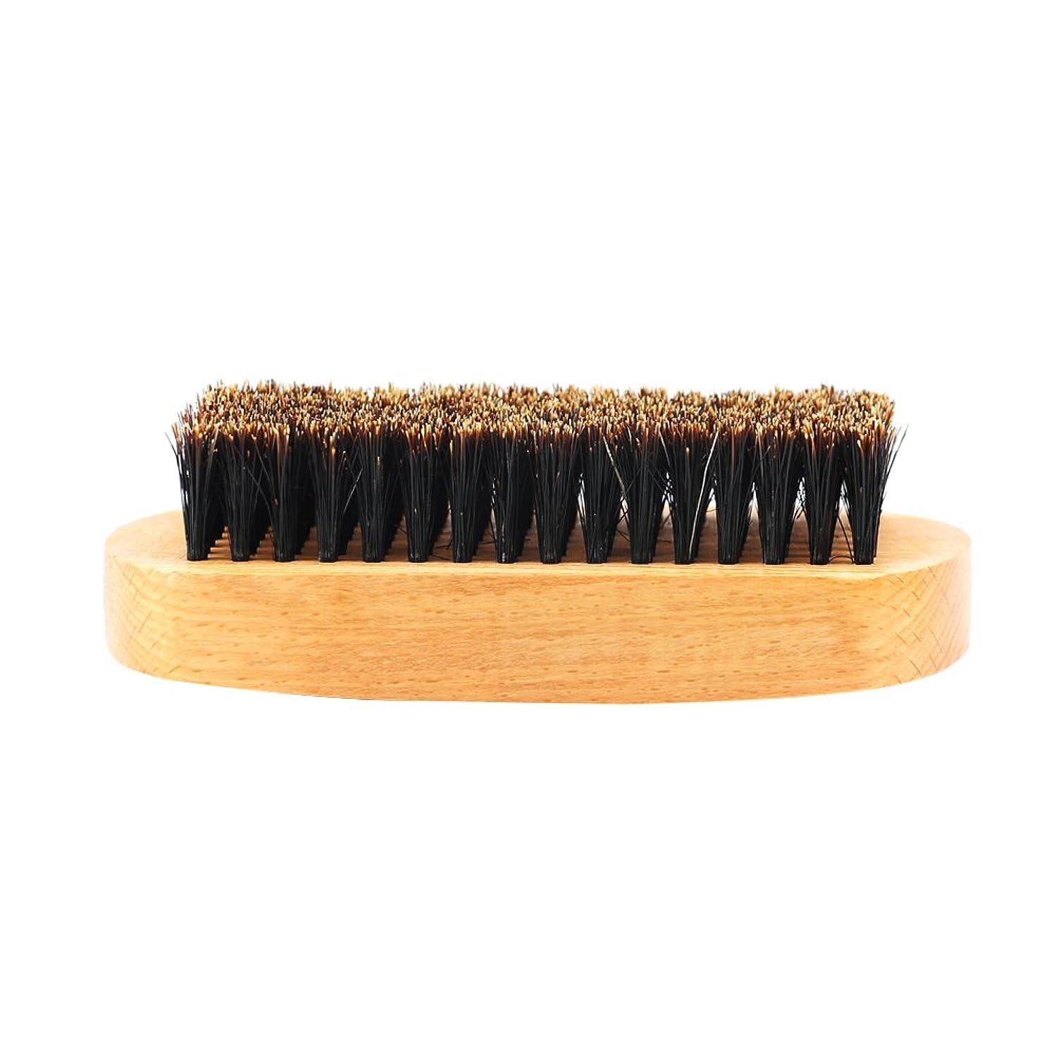 後ろに現金歯痛Perfk ビュアブラシ 髭ブラシ 豚毛 ひげそりブラシ ひげ剃り ひげ髭  ひげ ヘアケア 櫛 2タイプ選べる - #1
