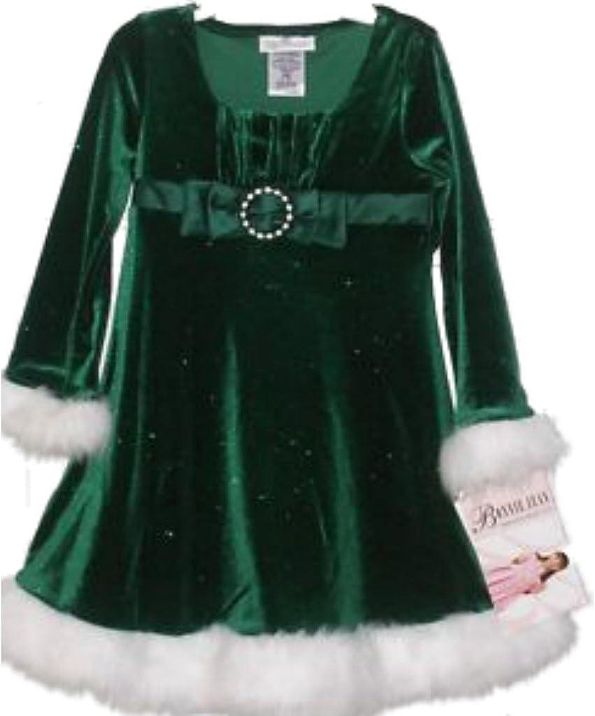 Bonnie Jean Girls Dress, Little Girls Santa Dress (2/2T, Green)
