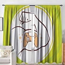 NUOMANAN Blackout Curtains Gamer,Entertainment Illustration of Strong Man Arm with Icon of Joystick Manly Line Art,Multicolor,Rod Pocket Drapes Thermal Insulated Panels Home décor 120