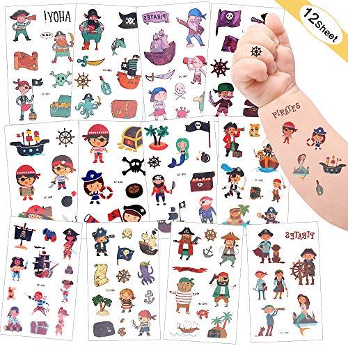 Sporgo Tattoo Kinder, Einhorn Dinosaurier Piraten Halloween Weihnachts Tattoos Set Temporäre Tattoos Kinder Aufkleber Sticker für Mädchen Kindergeburtstag Mitgebsel Einhorn Party (Piraten)
