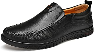Xiang Ye Business Loafer for Men Driving Loafers Slip On Genuine Leather Vegan Lightweight Breathable Formal Low Top Round Toe (Color : Black, Size : 6.5 UK)