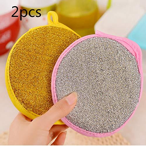 Dikke ronde doublesided Dish Handdoeken, schuurpad Sponge Sponge Sponge Dish Handdoeken, afwasborstel zijn niet gekleurd met olie 2pcs Geel + Roze