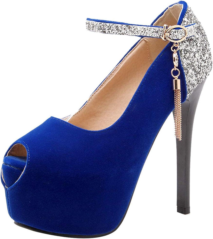 KemeKiss Women Thin High Heels Sexy Pumps shoes Party Dress Pumps Peep Toe Platform Pumps Ankle Strap