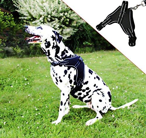 Molosser Hundegeschirr für kleine mittelgroße große Hunde und Welpen, reflektierend Brustgeschirr Sicherheitsgeschirr Hund ausbruchsicher gefüttert, Gr. L